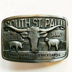 "3"" Pewter South St. Paul Stockyards Belt Buckle"